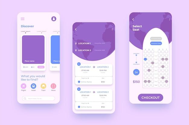 Reisebuchungs-app-oberfläche für mobiltelefone Premium Vektoren