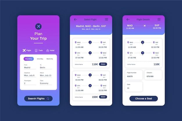 Reisebuchungs-app-vorlage Kostenlosen Vektoren