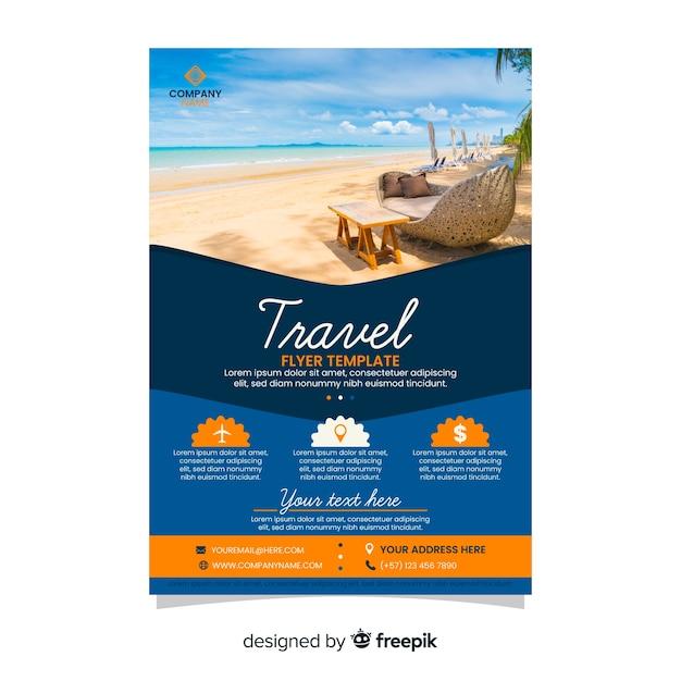 Reisebüro flyer vorlage mit foto Kostenlosen Vektoren