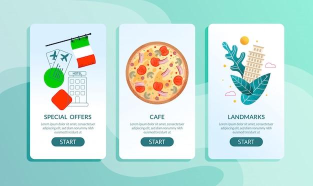 Reisebüro mobile seiten set angebot italien reise Premium Vektoren