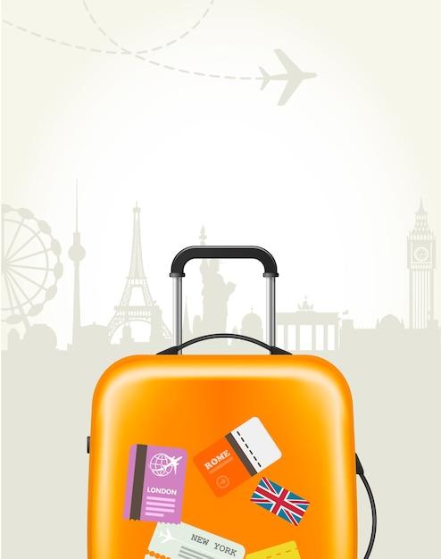 Reisebüroplakat mit plastikkoffer und europäischen wahrzeichen - tourismusplakat Premium Vektoren
