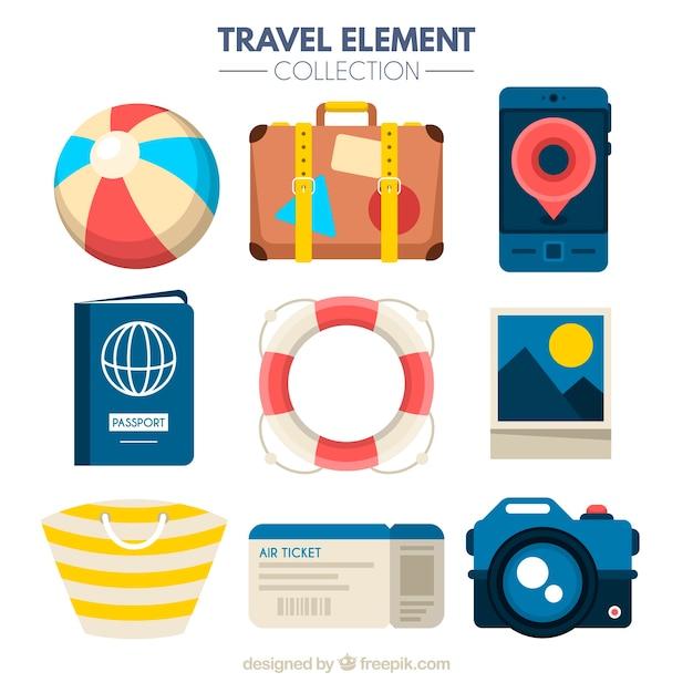 Reiseelementsammlung mit flachem design Kostenlosen Vektoren