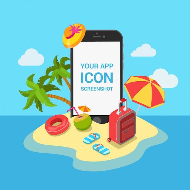 Reiseflugticket-urlaubshotelbuchungs-bewegliches app-konzept. telefon auf tropeninselstrand-vektorillustration. Kostenlosen Vektoren