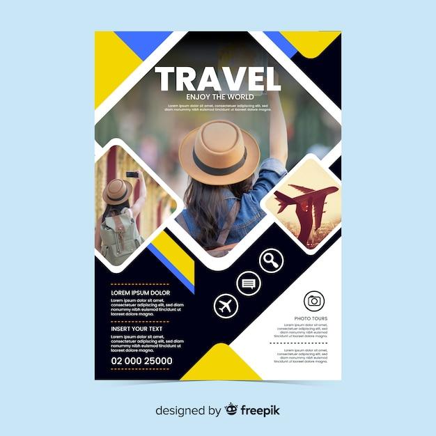 Reiseflyer / poster mit foto Kostenlosen Vektoren