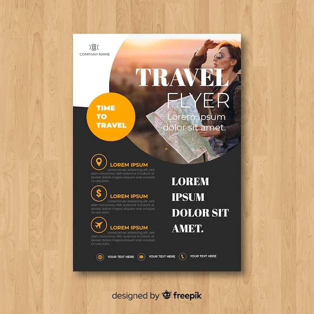 Reiseflyer vorlage mit foto Kostenlosen Vektoren