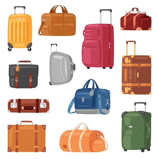 Reisegepäckgepäckkoffer für reiseurlaubstourismus-illustrationssatz von reisegepäck- und tourabenteuerkoffer oder handtasche für touristen auf weißem hintergrund Premium Vektoren