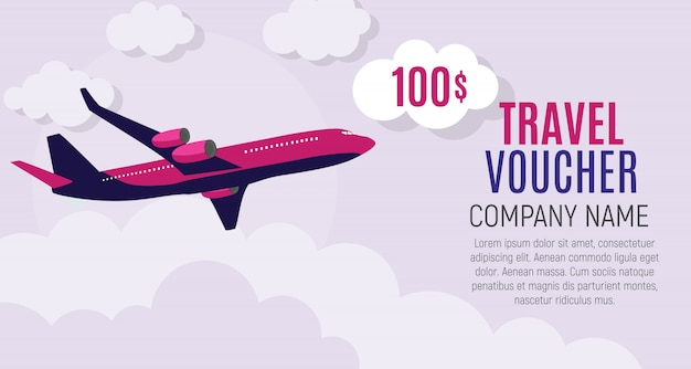 Reisegutschein 100-dollar-vorlage mit flugzeug Premium Vektoren