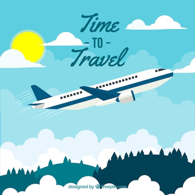Reisehintergrund in der flachen art Kostenlosen Vektoren