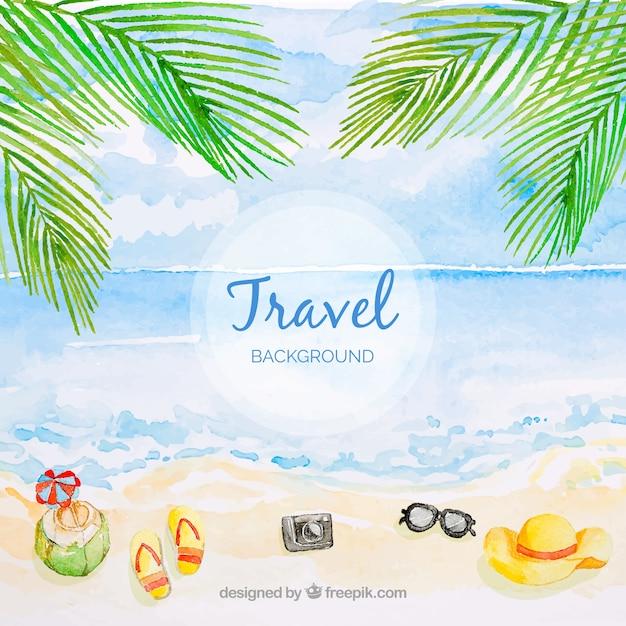 Reisehintergrund mit Strand in der Aquarellart Kostenlose Vektoren