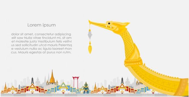 Reisehintergrund mit thailändischer landschaft Premium Vektoren
