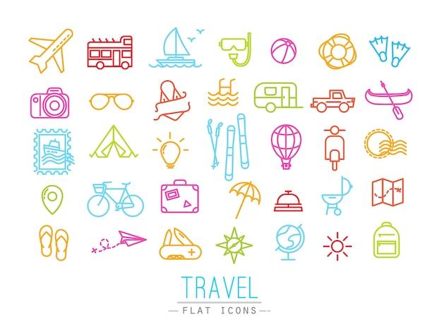 Reiseikonen, die in flache moderne art mit farblinien zeichnen. Premium Vektoren