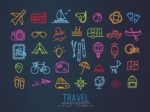 Reiseikonen, die in flache moderne art mit neonlinien zeichnen Premium Vektoren