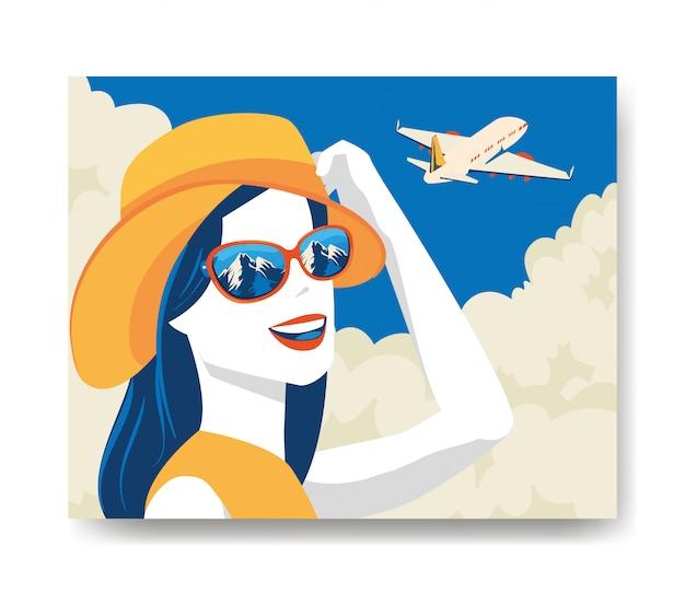 Reiseillustration mit frau und flugzeug Kostenlosen Vektoren