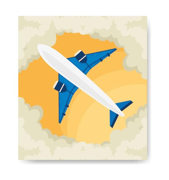 Reiseillustration und flugzeug mit wolken Kostenlosen Vektoren