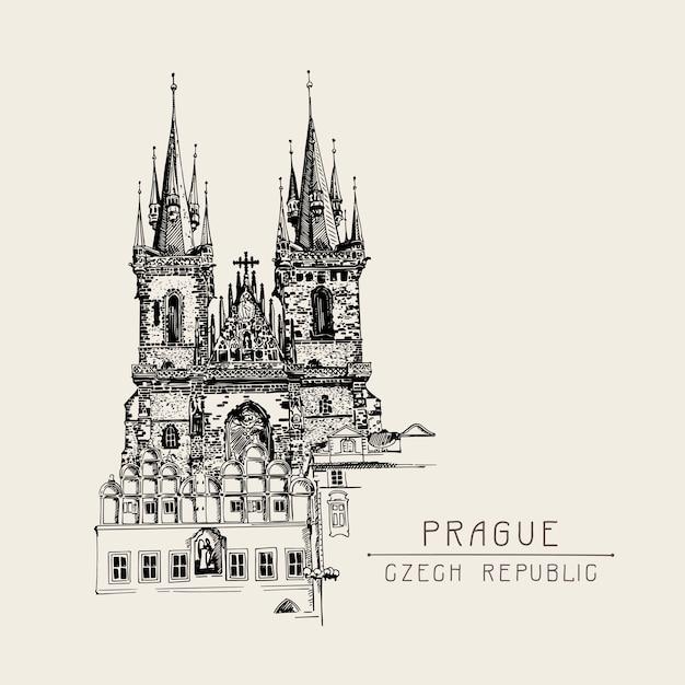 Reisekarte mit schwarzer skizzenzeichnung der liebfrauenkirche vor teyn Premium Vektoren