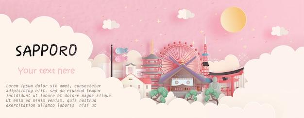Reisekonzept mit berühmtem markstein sapporos, japan im rosa hintergrund. papierschnitt illustration Premium Vektoren