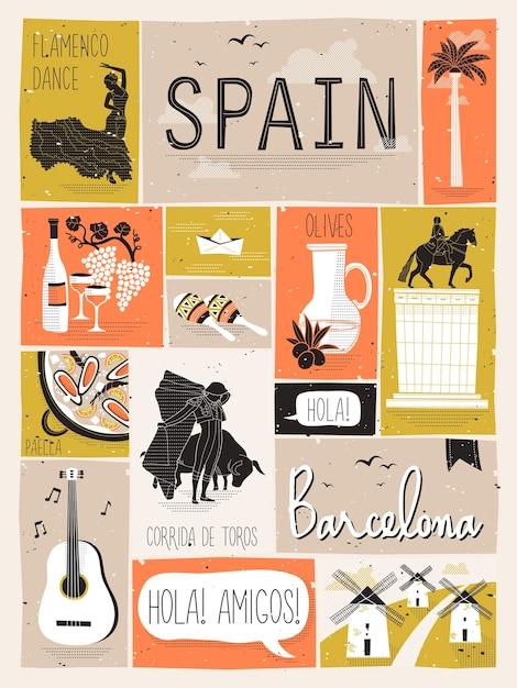 Reisekonzept von spanien im stil Premium Vektoren