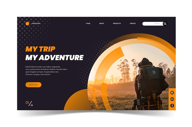 Reiselandingpage mit foto Kostenlosen Vektoren