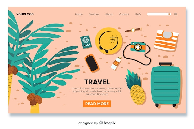 Reiselandingpage mit reiseobjekten Kostenlosen Vektoren