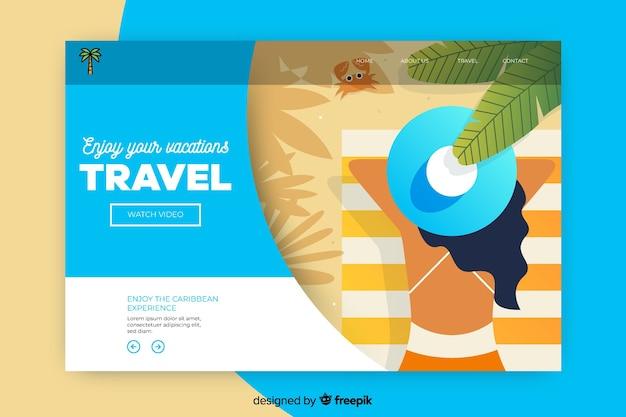 Reiselandungsseite mit draufsichtfrau am strand Kostenlosen Vektoren