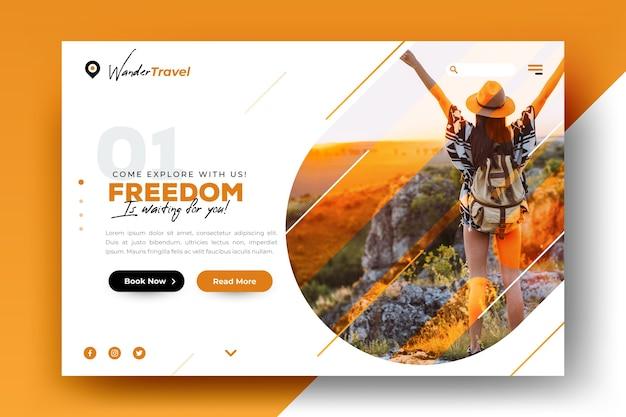 Reiselandungsseitenschablone mit foto Kostenlosen Vektoren