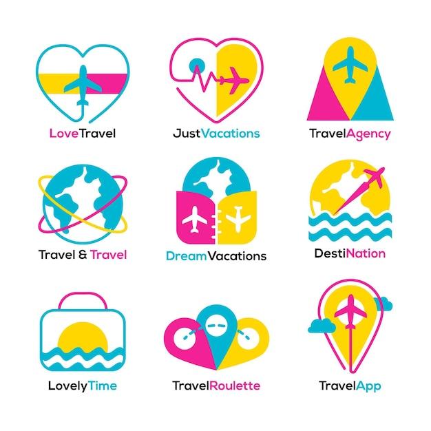 Reiselogosammlung Kostenlosen Vektoren