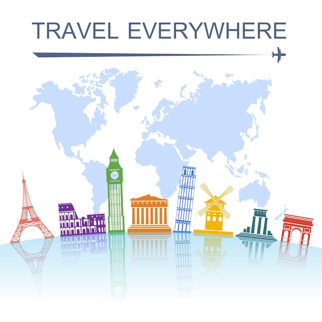 Reisemarke konzept poster drucken Kostenlosen Vektoren