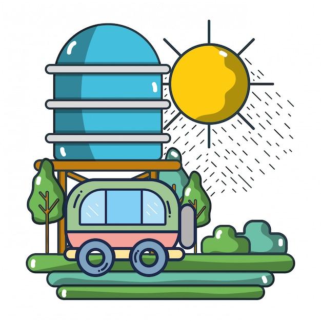 Reisemobil fahren auf natur Premium Vektoren
