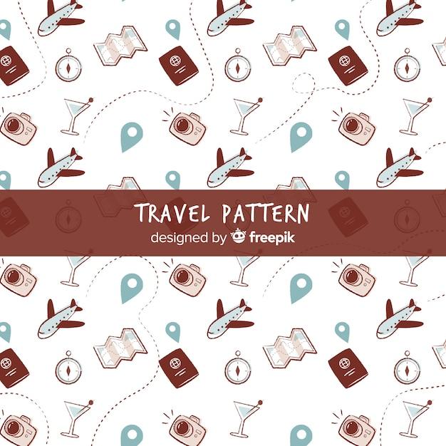 Reisemuster mit elementen und gestrichelten linien Kostenlosen Vektoren