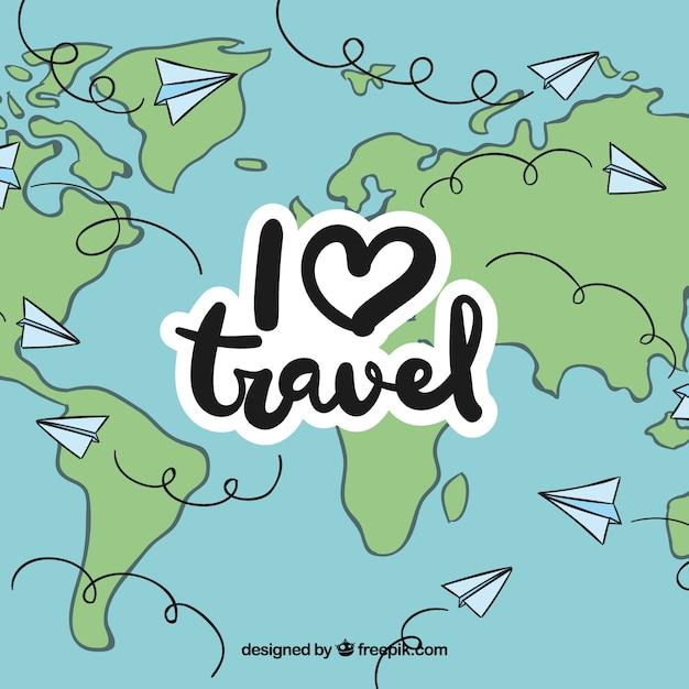 Reisen auf der ganzen Welt per Papier Flugzeug Kostenlose Vektoren