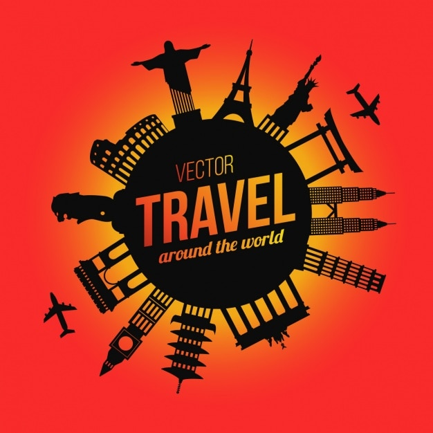 Reisen hintergrund-design Kostenlosen Vektoren