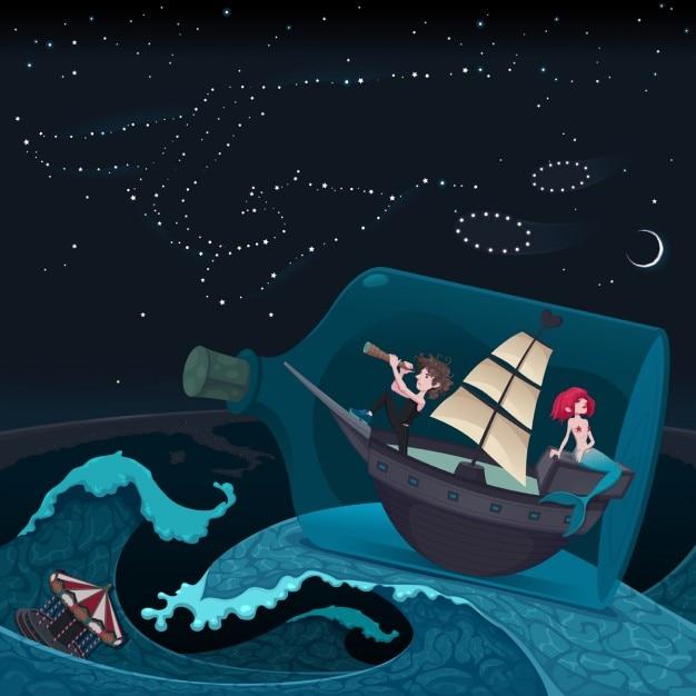 Reisen in der nacht vektor-cartoon-illustration Kostenlosen Vektoren