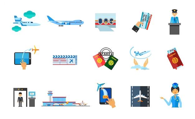 Reisen ins ausland icon set Kostenlosen Vektoren