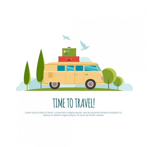 Reisen mit dem auto, weltreisen, reisen, sommerreisen, tourismusillustration Premium Vektoren