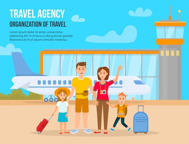 Reisen mit der familie im urlaub Premium Vektoren