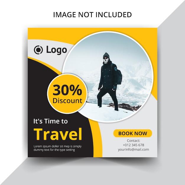 Reisen oder ferien instagram beitragsschablone Premium Vektoren