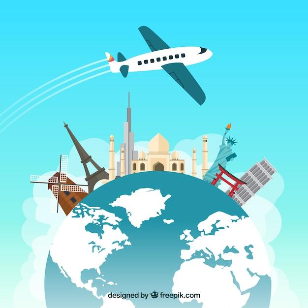 Reisen rund um die welt Kostenlosen Vektoren