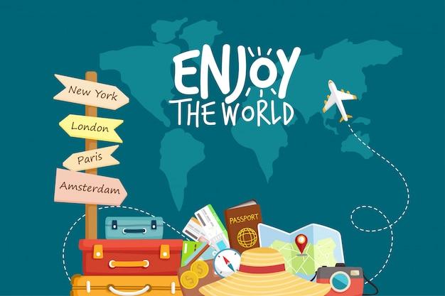 Reisen sie mit dem flugzeug. weltreise. sommerferien planen. tourismus und urlaubsthema. Premium Vektoren