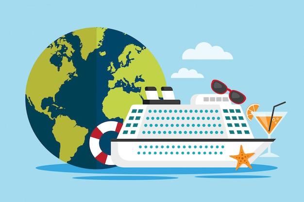 Reisen sie mit dem kreuzfahrtschiff um die welt Premium Vektoren