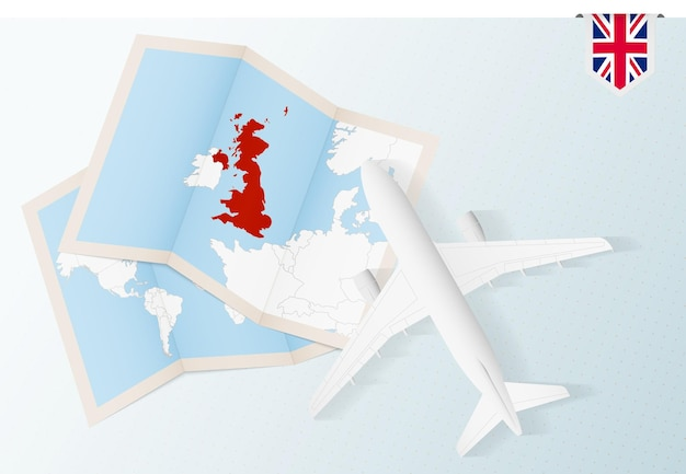 Reisen sie nach großbritannien, draufsicht flugzeug mit karte und flagge von großbritannien. Premium Vektoren