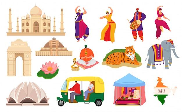 Reisen sie nach indien, indien wahrzeichen tourismus satz von illustrationen. taj mahal gebäude architektur und kultur, hindustani volkstänzer, elefant, karte und gewürze. traditionelle indische symbole. Premium Vektoren