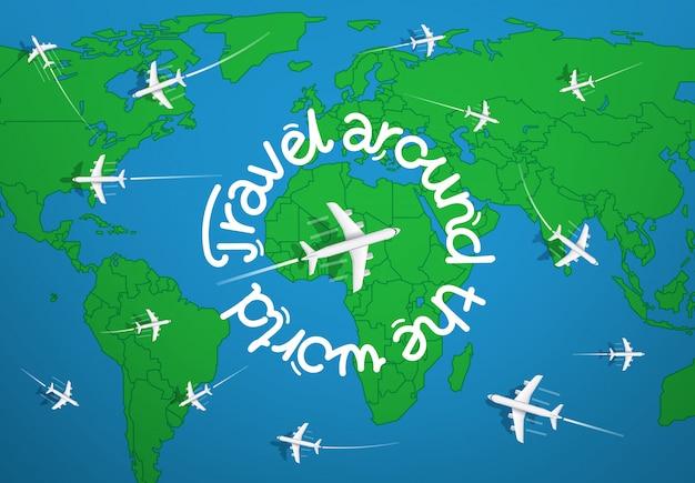 Reisen sie um das weltkonzept mit karte und flugzeugen Premium Vektoren