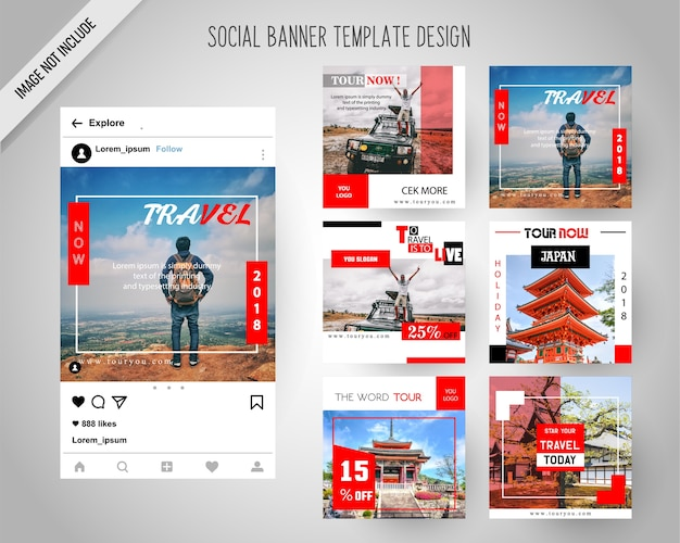 Reisen social-media-banner für digitales marketing Premium Vektoren