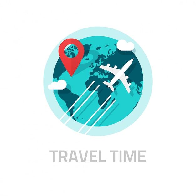 Reisen um die welt durch flugzeugillustration auf weiß Premium Vektoren
