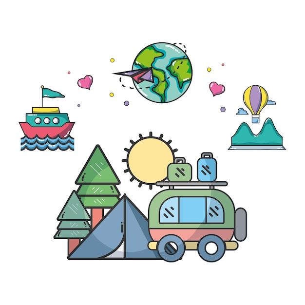 Reisen und urlaub Premium Vektoren