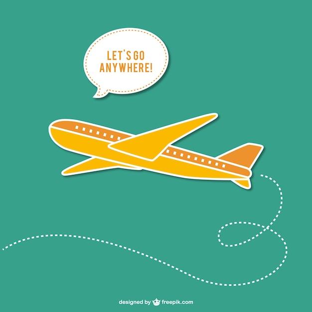 Reisen-vektor mit flugzeug Kostenlosen Vektoren
