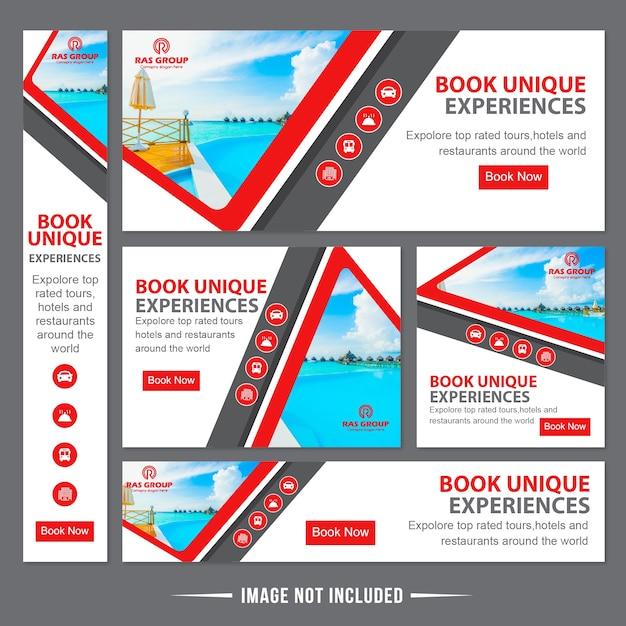 Reisen web banner anzeigen vorlage Premium Vektoren