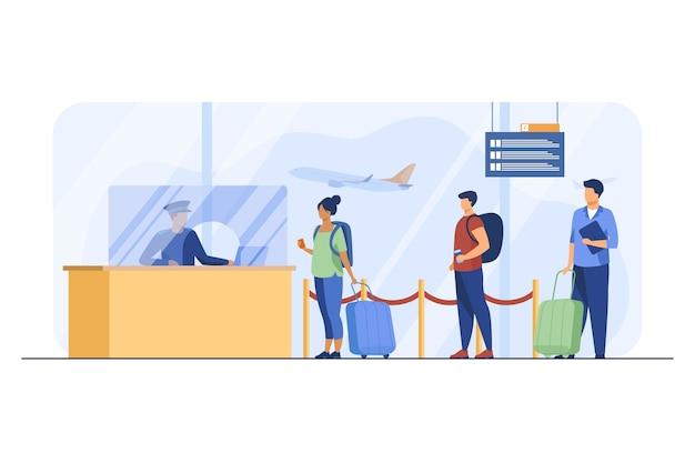 Reisende, die für die flugregistrierung in der warteschlange stehen. gepäck, linie, ticket flache vektorillustration. fluggesellschaften und reisen Kostenlosen Vektoren