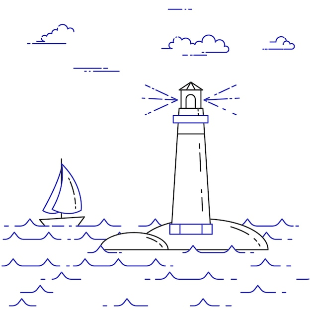 Reisende horizontale fahne mit segelboot auf wellen, leuchtturm und wolken. flache linie kunstelemente. vektor-illustration konzept für reise, tourismus, reisebüro, hotels, segeln, erholungskarte. Premium Vektoren
