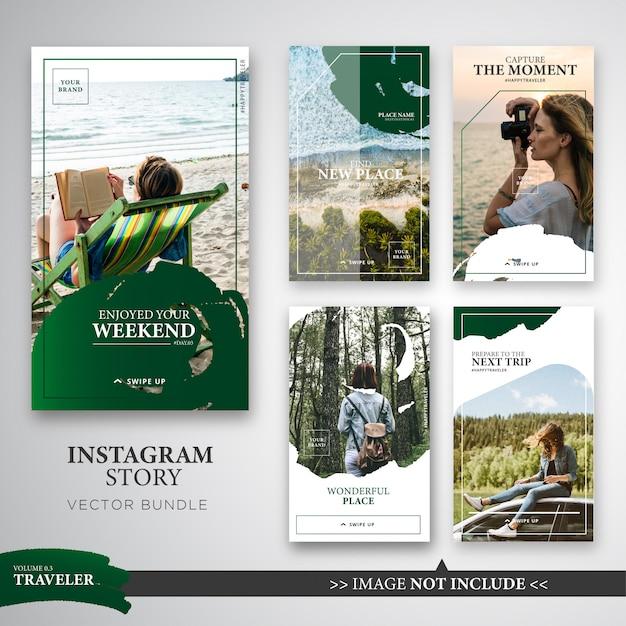Reisende instagram-geschichtenvorlagen-bündel in grüner farbe. Premium Vektoren